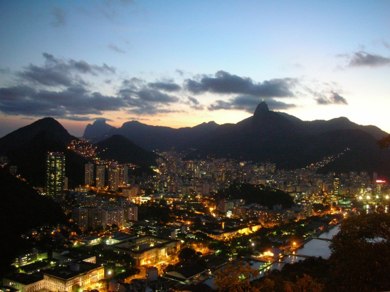 Night view of Rio : the Cristo on the top of Corcovado mountain