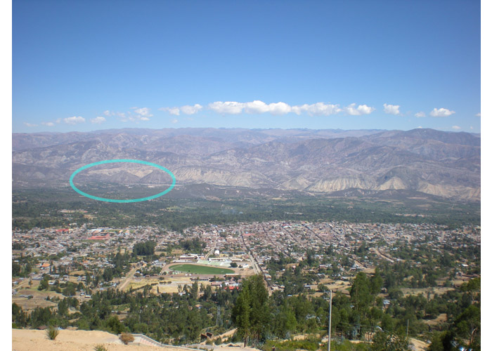 The view of the city of Huanta, Cangari village is situated around the blue circled area.