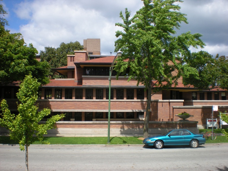 Robie House is one of the best known examples of Frank Lloyd Wright's Prairie style of architecture.