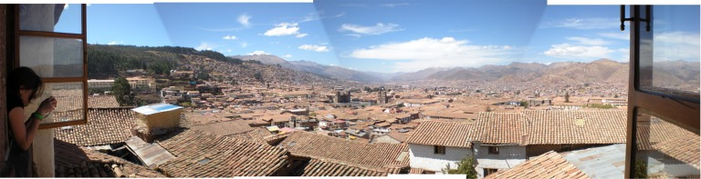 Panorama of the city of Cusco from the Loki hostel