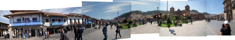 Panorama of the main plaza in Cusco (photo by Mariana)