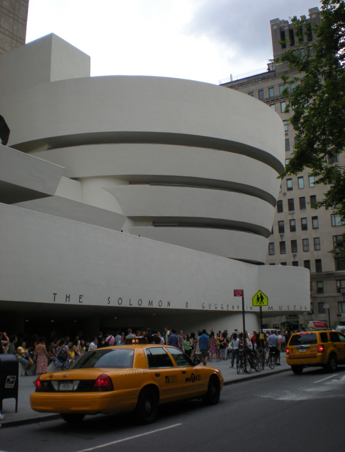 Elegant Guggenheim museum building by architect Frank Lloyd Wright