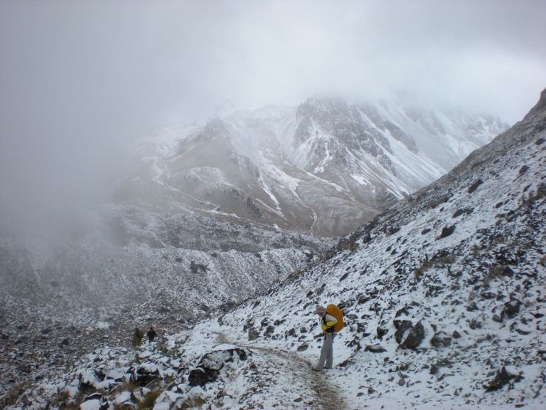 Climbing to the summit of  the Salkantay mountain