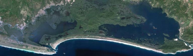Aerial view of Lagunas de Chacahua, Mexico