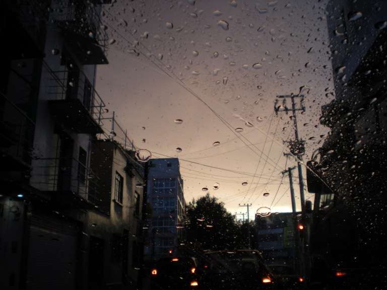 Rainy season in Mexico City, it rains hard almost every evening for a while. Otherwise it's still very sunny most of time.