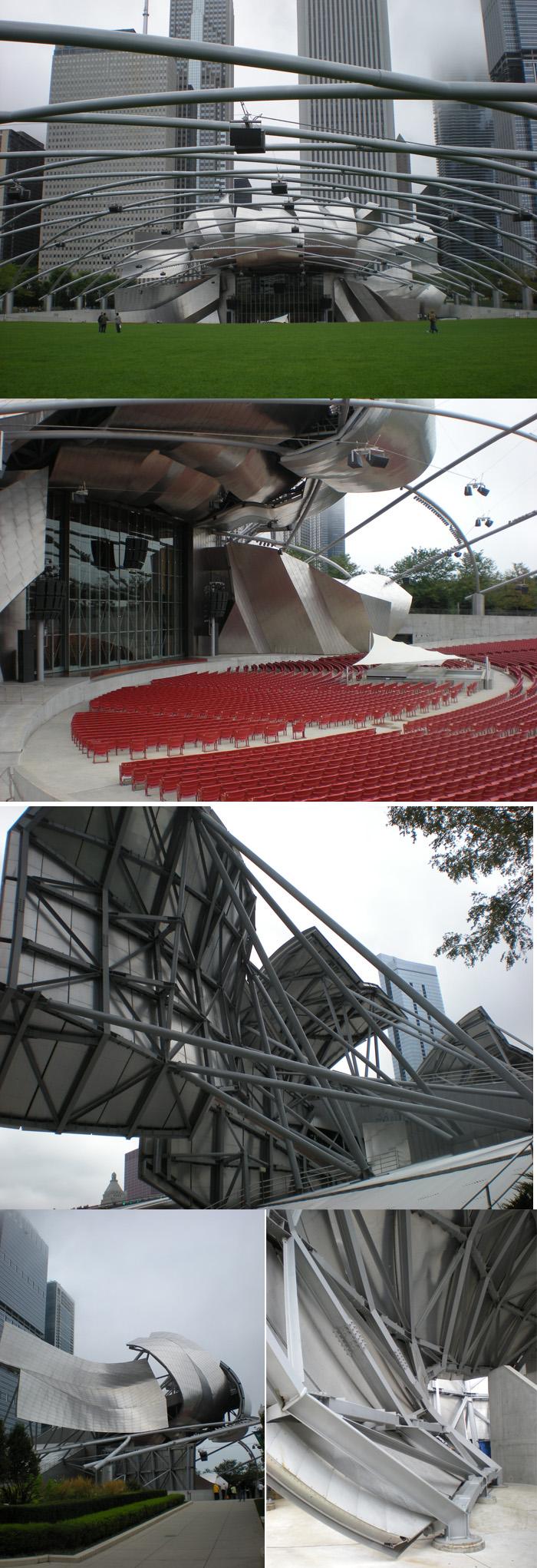 앞면만 있고 뒷면은 없는 평면건축, Jay Pritzker Pavillon by Frank Gehry